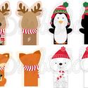 Mintás barkácsfilc - karácsonyi ujjbábok - téli állatok, Textil, Filc, Fehér alapon színes karácsonyi mintás filc anyag. A mintákat egyszerűen kivágva, összevarrva, vidám ..., Alkotók boltja