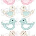 e1d63460ec Mintás barkácsfilc - kivágható Csináld magad! madarak - kék és rózsaszín,  Textil, Filc