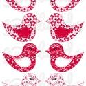 Mintás barkácsfilc - kivágható Csináld magad! madarak - piros virágos, Textil, Filc, Fehér alapon színes mintás filc anyag. A sablonokat kivágva, összevarrva, kitömve bájos dekorációkat..., Alkotók boltja
