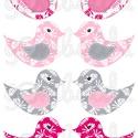 Mintás barkácsfilc - kivágható Csináld magad! madarak - rózsaszín szürke leveles, Textil, Filc, Fehér alapon színes mintás filc anyag. A sablonokat kivágva, összevarrva, kitömve bájos dekorációkat..., Alkotók boltja