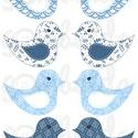 Mintás barkácsfilc - kivágható Csináld magad! madarak - világoskék kék mintás, Textil, Filc, Varrás, Textil, Fehér alapon színes mintás filc anyag. A sablonokat kivágva, összevarrva, kitömve bájos dekorációka..., Alkotók boltja