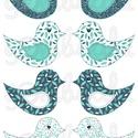 Mintás barkácsfilc - kivágható Csináld magad! madarak - kékes leveles, Textil, Filc, Fehér alapon színes mintás filc anyag. A sablonokat kivágva, összevarrva, kitömve bájos dekorációkat..., Alkotók boltja