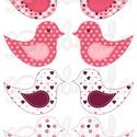 Mintás barkácsfilc - kivágható Csináld magad! madarak - rózsaszín szíves, Textil, Filc, Fehér alapon színes mintás filc anyag. A sablonokat kivágva, összevarrva, kitömve bájos dekorációkat..., Alkotók boltja