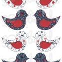 Mintás barkácsfilc - kivágható Csináld magad! madarak - sötétkék piros virágos, Textil, Filc, Fehér alapon színes mintás filc anyag. A sablonokat kivágva, összevarrva, kitömve bájos dekorációkat..., Alkotók boltja