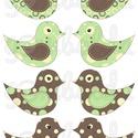 Mintás barkácsfilc - kivágható Csináld magad! madarak - barna zöld pöttyös, Textil, Filc, Fehér alapon színes mintás filc anyag. A sablonokat kivágva, összevarrva, kitömve bájos dekorációkat..., Alkotók boltja