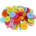 50db - műanyag színes gomb mix - 10+15+20+22mm, Színes, 4-lyukú műanyag gomb csomag különböz...
