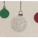 100% pamut szalag csomag - Glitter Baubles, Natúr alapon karácsonyi mintás pamut szalag a t...