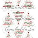 Mintás filc fenyődísz sablon - ünnepi feliratok, Karácsonyi feliratokkal díszített, fehér alapo...