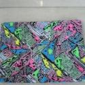 Neon színű mintás vászon 2., 110 cm széles vászon anyag neon színű mintáva...