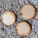 Fa korong, Fa, Rétegelt lemez, fa alap, Tetején fúrt, lapos fa korongok  Átmérője:4 cm 3 db van belőle, Alkotók boltja