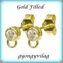 Gold Filled fülbevalókapocs EFK K 19G, Gyöngy, ékszerkellék, Egyéb alkatrész, EFK K 19G 14K arannyal bevont (gold filled) 925-ös ezüst fülbevalókapocs Cubic Zirconia (CZ) kő..., Alkotók boltja