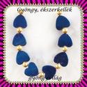 Kék titánium 8 részes szett  GYÁ-SZ04, Gyöngy, ékszerkellék, Fém köztesek, GYÁ-SZ04 8részes kék titánium szívből álló szett , nyaklánc, karkötő, fülbevaló késít..., Alkotók boltja