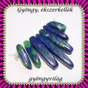 kék jasper 7 részes szett  GYÁ-SZ05-3, Gyöngy, ékszerkellék, Fém köztesek, GYÁ-SZ05-3 7 részes kék jasper  szett , nyaklánc,  fülbevaló készítéséhez.  A méreteket a..., Alkotók boltja