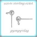 925-ös ezüst fülbevaló kapocs EFK B 01-4, Gyöngy, ékszerkellék, Egyéb alkatrész, Ékszerkészítés, Mindenmás, Szerelékek, EFK B 01-4  925-ös fémjellel ellátott valódi ezüst (bevizsgált) bedugós fülbevalóalap.  1 pár  A mé..., Alkotók boltja