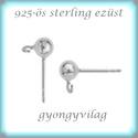 925-ös ezüst fülbevaló kapocs EFK B 01-3, Gyöngy, ékszerkellék, Egyéb alkatrész,  EFK B 01-3   925-ös fémjellel ellátott valódi ezüst (bevizsgált) bedugós fülbevalóalap.  1 pár  A m..., Alkotók boltja