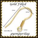 925-ös sterling ezüst ékszerkellék: fülbevalóalap akasztós  EFK A 68 au gold filled, Gyöngy, ékszerkellék, Egyéb alkatrész, Alkotók boltja