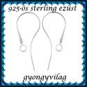 925-ös sterling ezüst ékszerkellék: fülbevalóalap akasztós EFK A 72, Gyöngy, ékszerkellék, Egyéb alkatrész, EFK A 72 --- 925-ös fémjellel ellátott valódi ezüst (bevizsgált) akasztós fülbevalóalap.  1..., Alkotók boltja