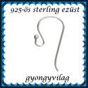 925-ös sterling ezüst ékszerkellék: fülbevalóalap akasztós EFK A 01-1, EFK A 01-1 --- 925-ös fémjellel ellátott valód...