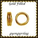 925-ös ezüst karika dupla ESZK D gold filled 4x6x0,8, Gyöngy, ékszerkellék, Egyéb alkatrész, Ékszerkészítés, Gyöngy, Két rétegű, 24 karátos arany bevonattal ellátott, 925-ös valódi ezüst (bevizsgált) 6mm külső átmérő..., Alkotók boltja