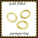 925-ös ezüst karika ESZK NY gold filled 3,8x0,8, Gyöngy, ékszerkellék, Egyéb alkatrész, Ékszerkészítés, Gyöngy, Két rétegű, 24 karátos arany bevonattal ellátott, 925-ös valódi ezüst (bevizsgált) 3,8mm külső átmé..., Alkotók boltja