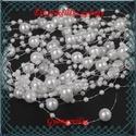 Ékszerkellék: akril gyöngy/füzér, GYA F 3-8 fehér, Gyöngy, ékszerkellék, Műanyag gyöngy, Ékszerkészítés, Gyöngy, BGYA CSF8x15 fehér  Akril telka/viaszgyöngy füzér.  A gyöngyök mérete 3 és 8mm. Egymástól való távo..., Alkotók boltja