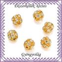 Ékszerkellék: köztes / díszítőelem / gyöngy BKÖ 1S 36-6a crystal  5db/csomag, Gyöngy, ékszerkellék, Fém köztesek, Ékszerkészítés, Mindenmás, Szerelékek, BKÖ 1S 36-6a crystal   Arany színű 6mm-es, strassz köves, fűzhető gömb, köztes/díszitőelem .  5db /..., Alkotók boltja