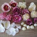 Mályva-krém színű Diy selyemvirág csomag, Dekorációs kellékek, Egyéb kellékek, Virágkötészet, Mindenmás, Különböző selyemvirágokat válogattam össze, mályvás-krém-rózsaszínes színekben, melyekből készíthet..., Alkotók boltja