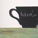 AKCIÓ! - Kávés csésze krétás tábla, Konyhafelszerelés, Dekoráció, Otthon, lakberendezés, Famegmunkálás, Festett tárgyak, Készleten lévő, azonnal rendelkezésre álló termék (a fotón az adásvétel tárgyát képező konkrét dara..., Meska