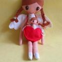 Angelika és kis angyalkája, Baba-mama-gyerek, Játék, Baba, babaház, Plüssállat, rongyjáték, Baba-és bábkészítés, Mindenmás, 36 cm magas, egyedi tervezésű, kézzel varrt, kedves angyalka textilbaba.Kézzel készült szív alakú t..., Meska