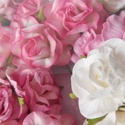 XXL méretű gyönyörű, kézműves vintage papír rózsák rózsaszín és fehér színekben, Dekorációs kellékek, Papír, Papírművészet, Ebben a csomagban 10 darab XXL méretű gyönyörű vintage mulberry rózsát találsz rózsaszín és fehér s..., Alkotók boltja