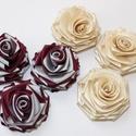 Rózsa virágok, Textil, Felvarrható kellék, Varrás, Szalag, Textil, Szaténszalagból készült rózsák  6,5 cm átmérővel.  Felhasználhatók  ,kitűzők,ruhák,táskák díszétésé..., Alkotók boltja