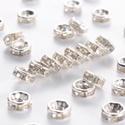 Rondell / Strasszgyűrű / 6 mm - 10 db, Gyöngy, ékszerkellék, Fém köztesek, Ékszerkészítés, Fém köztesek, Ezüst színű strasszos köztes, nikkelmentes. Mérete: 6*3 mm, a furat 1,5 mm. Az ár 10 db-ra vonatkoz..., Alkotók boltja