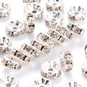Rondell / Strasszgyűrű / 8 mm - 10 db, Gyöngy, ékszerkellék, Fém köztesek, Ékszerkészítés, Fém köztesek, Ezüst színű strasszos köztes, nikkelmentes. Mérete: 8*3,8 mm, a furat 1,5 mm. Az ár 10 db-ra vonatk..., Alkotók boltja