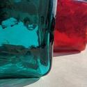 Egyedi színesüveg palackok, Üveg, Üvegművészet, Magyarországon készült színes üvegpalackok, 16 cm magas anyagában színezett narancs-piros és türkiz..., Alkotók boltja