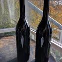 Színes Üvegpalack 3 literes , Üveg, Üvegművészet, Magyarországon készült színes üvegpalackok, 51 cm magas anyagában színezett fekete palackok. Űrtart..., Alkotók boltja