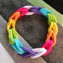 Pólófonalból készített szivárványos nyaklánc, Fonal, cérna, Pamutfonal, Kötés, horgolás, Pólófonalból készült nyaklánc. Minden színes ruhához megfelelő. , Alkotók boltja
