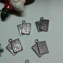 Póker kártya francia kártya medál, Póker kártya francia kártya tibeti ezüst szín...