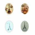 EIFFEL TORONY Ovális digitális montázs 25 x 18mm 30db, Gyöngy, ékszerkellék, Üveglencse, Alkotók boltja