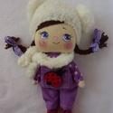Rongybaba-textilbaba-Bodza a textil baba, Dekoráció, Játék, Baba játék, Plüssállat, rongyjáték, Baba-és bábkészítés, Varrás, Bodzácska 25 cm-es. Sapkáját macifonálból kötöttem, ahogyan  a kis sálját is. Ruházata fix. Ami lev..., Meska