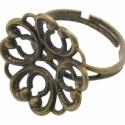 Antik bronz, filigrán virág díszes, gyűrű alap , Gyöngy, ékszerkellék, Egyéb alkatrész, Alkotók boltja