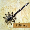 Virágfejes, antik bronz hajcsat, Gyöngy, ékszerkellék, Egyéb alkatrész, Alkotók boltja