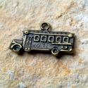 2 db Antik bronz Sulibusz medál, charm - kétoldalas, Gyöngy, ékszerkellék, Fém köztesek, Alkotók boltja