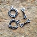 Antik ezüst T-kapocs (3 típus)  2 szett/csomag, Gyöngy, ékszerkellék, Egyéb alkatrész, Alkotók boltja