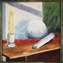 festmény- gyertyaláng, Otthon & lakás, Dekoráció, Lakberendezés, Képzőművészet, Festmény, Festészet, Ez a kép a formákról és a fehér megfestéséről szól.  20 éve festettem tanulmányaim alatt. Pár éve l..., Meska