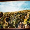 Őszi hangulat-olaj festmény +kerettel, Otthon & lakás, Lakberendezés, Képzőművészet, Festmény, Olajfestmény, Varrás, Festészet, Saját készítésű olajfestményem, másolat nem készült belőle, egyedi darab. A napraforgókat most egy ..., Meska