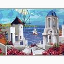 Előfestett gobelin alap - Görög tengerparti város, Dekorációs kellékek, Festett tárgyak, festészet, Festékek, Festő szerszámok, Ez a gobelin minta 45x70cm (teljes méret), 100%-os pamut keményített gobelin alapanyagra festve kés..., Alkotók boltja
