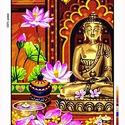 Előfestett gobelin alap - Buddha, Dekorációs kellékek, Festett tárgyak, festészet, Festékek, Festő szerszámok, Ez a gobelin minta 45x60cm (teljes méret), 100%-os pamut keményített gobelin alapanyagra festve kés..., Alkotók boltja