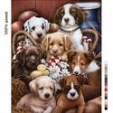 Előfestett gobelin alap - Kutyák, Dekorációs kellékek, Ez a gobelin minta 50x60cm (teljes méret), 100%-os pamut keményített gobelin alapanyagra festve kész..., Alkotók boltja