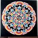 Szivárványvirág Mandala, Otthon & lakás, Képzőművészet, Lakberendezés, Falikép, Festészet, Nappali dísze lehet ez a nagyméretű ( 76 x 76 cm) akril festékkel fára festett és lakkozott mandala..., Meska