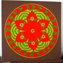 Biztonság Mandala, Képzőművészet, Otthon, lakberendezés, Festmény, Falikép, Festészet, Nappali dísze lehet ez a nagyméretű ( 76 x 76 cm) akril festékkel fára festett és lakkozott mandala..., Meska